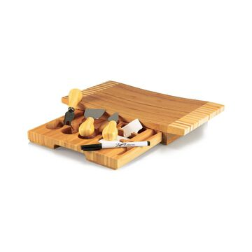 Picnic Time 8Pc Concavo Cutting Board And Cheese Tools Set