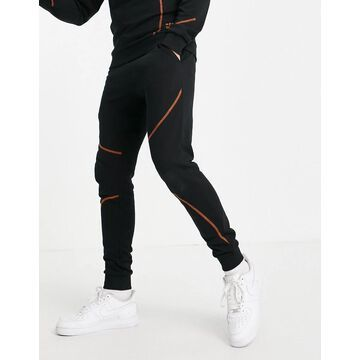 Jack & Jones Core set sweatpants with contrast stitch in black