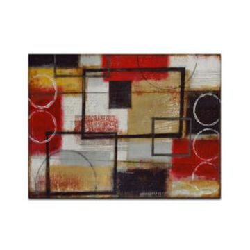"""Ready2HangArt Excite Red Abstract Canvas Wall Art, 20x30"""""""