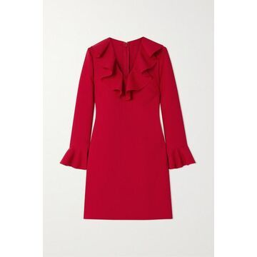 Valentino - Ruffled Wool-blend Crepe Mini Dress - Red