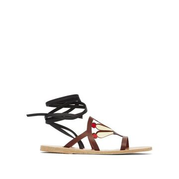 Ancient Greek Sandals - Lilly Cutout Leather Sandals - Womens - Brown Multi