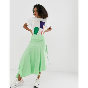 ASOS WHITE block color ruched skirt-Pink