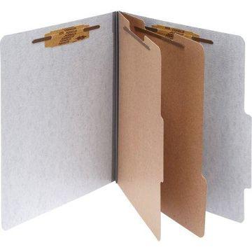 ACCO 20-Pt PRESSTEX Classification Folders, Letter, 6-Section, Gray, 10/Box