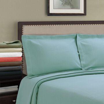 Superior Jacquard Matelasse Solitaire Cotton Bedspread Set (White - Queen)