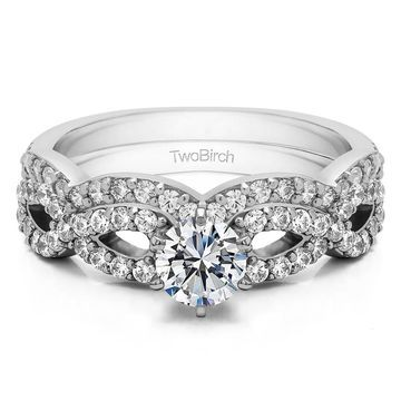 TwoBirch Bridal Set (Two Rings) in 10k Gold and Cubic Zirconia (1.24tw )