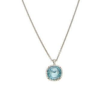 Marco Bicego Jaipur 18K White Gold .24 Ct. Tw. Diamond & Blue Topaz Necklace