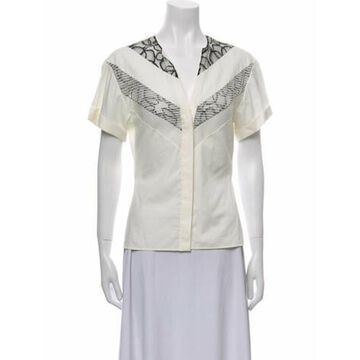 Lace Pattern V-Neck Button-Up Top w/ Tags