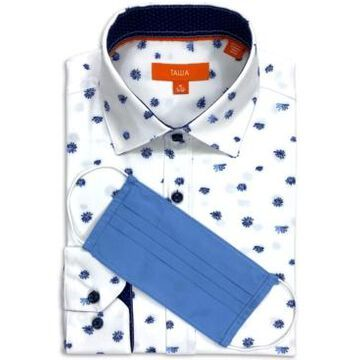 Tallia Men's Slim-Fit Performance Stretch Falling Floral Print Dress Shirt and Free Face Mask