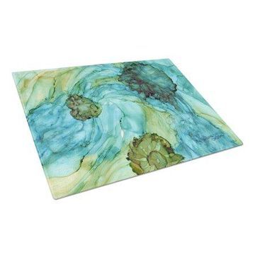 Caroline's Treasures Abstract in Teal Flowers Glass Cutting Board Large