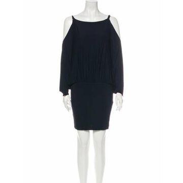 Bateau Neckline Mini Dress Blue