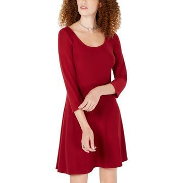 Planet Gold Womens 3/4 Sleeves Scoop Neck Casual Dress