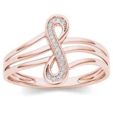 De Couer IGI Certified 10k Rose Gold 1/20ct TDW Diamond Infinity Loop Ring - Pink (7 - Rose)