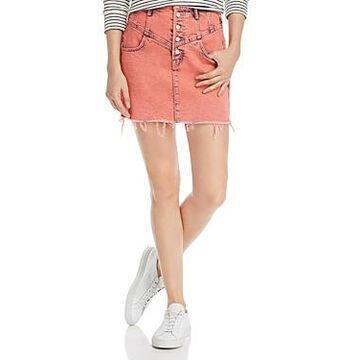 Mother The Swooner Front-Yoke Frayed Denim Skirt