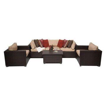 TK Classics Belle 6-Piece Outdoor Wicker Sofa Set, Wheat