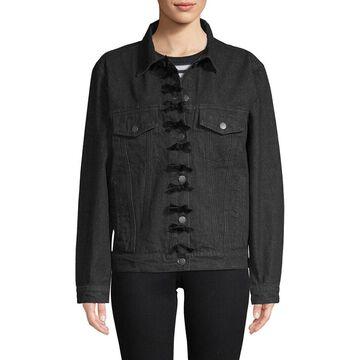 Manoush Womens Denim Bow Jacket
