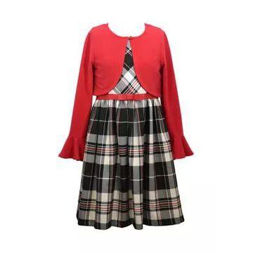 Bonnie Jean Girls' Toddler Girls Plaid Dress And Cardigan Set - -