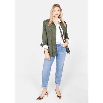 Violeta BY MANGO - Pocketed cotton jacket green - M - Plus sizes