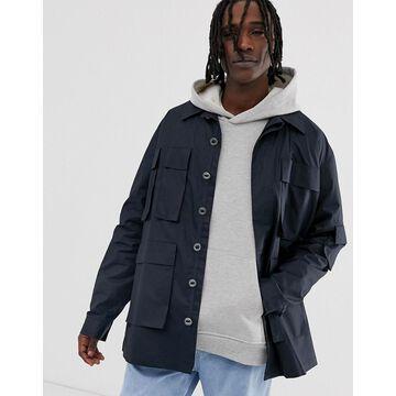 ASOS WHITE lightweight utility jacket in dark navy