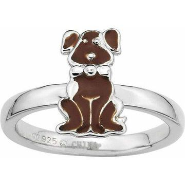 Sterling Silver Brown Enameled Dog Ring