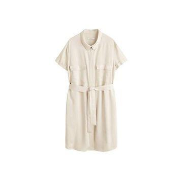 Violeta BY MANGO - Belt shirt dress beige - 18 - Plus sizes