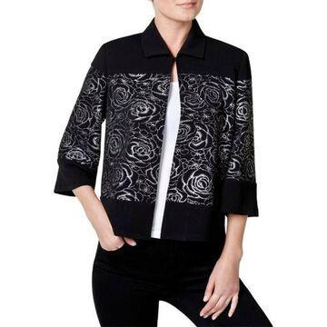 Kasper Womens Textured Floral Print Blazer