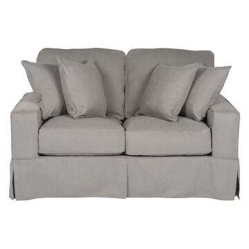 Box Cushion Slipcovered Loveseat Performance Fabric Gray