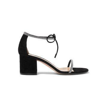 Gianvito Rossi - 60 Crystal-embellished Suede Sandals - Black