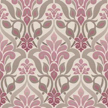 Beacon House Fusion Purple Ombre Damask Wallpaper
