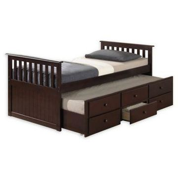 Broyhill Kids Marco Island Twin Captain's Bed with Trundle and Drawers in Espresso