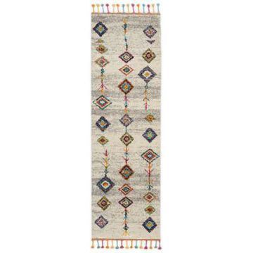 Nourison Moroccan Casbah Arrows and Diamonds 8' Runner Rug in Cream/Grey