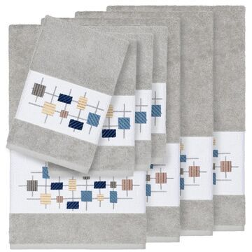 Authentic Hotel and Spa Turkish Cotton Squares Embroidered Light Grey 8-piece Towel Set