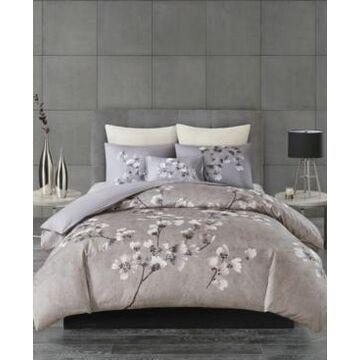 N Natori Sakura Blossom Full/Queen 3 Piece Cotton Sateen Printed Duvet Cover Set Bedding