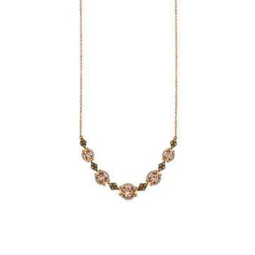 Women Le Vian Peach Morganite And Chocolate & Vanilla Diamonds Necklace In 14K Strawberry Gold