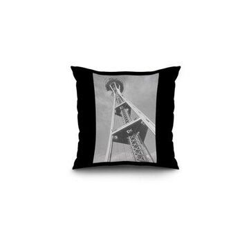 Seattle, WA - Space Needle Construction from Ground (16x16 Spun Polyester Pillow, Black Border)