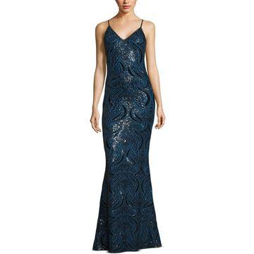 Xscape Womens Evening Dress Mesh Sequined
