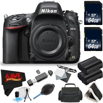 Nikon D610 DSLR Camera (Body Only) + 64GB SDXC Class 10 Memory Card + Carrying Case International Model