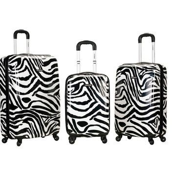 Rockland Safari 3pc Polycarbonate/ABS Spinner Luggage Set - Zebra