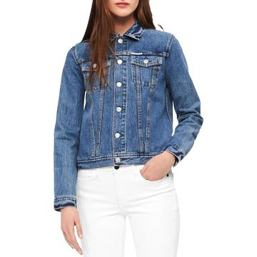 Calvin Klein Jeans Womens Denim Jacket Printed Lightweight - L