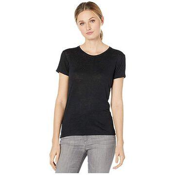 Majestic Filatures Linen/Elastane Short Sleeve Crew Neck Tee (Noir) Women's Clothing
