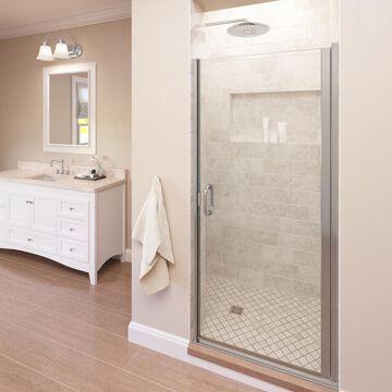 Basco Infinity 27-in to 28-in W Semi-frameless Hinged Chrome Shower Door