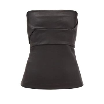 Rick Owens - Panelled Leather Bustier Top - Womens - Black