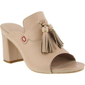 Azura Women's Brunilda Tassel Slide Sandal Beige Leather