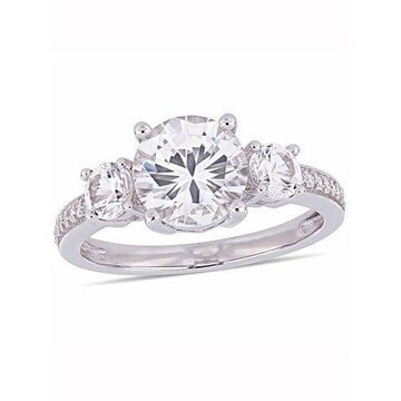 3 Carat T.G.W. Created White Sapphire and Diamond-Accent 10kt White Gold Engagement Ring