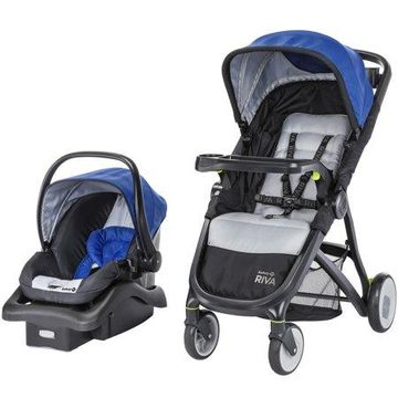 Safety 1st RIVA Ultra Lightweight Travel System Stroller with onBoard35 FLX infant Car Seat, Liberty Blue