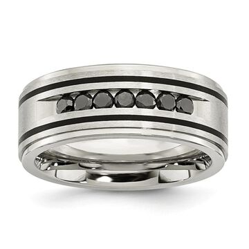 Chisel Stainless Steel Brushed and Polished Black IP and Black Diamonds 9mm Band (12)