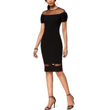 Betsy & Adam Womens Illusion Sheath Cocktail Dress
