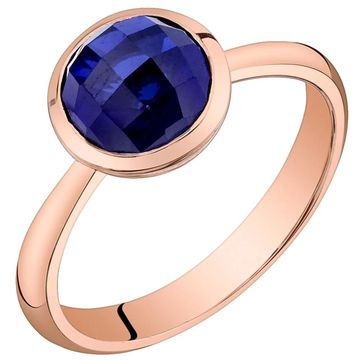 Oravo 14k Rose Gold Created Blue Sapphire Solitaire Dome Ring 2.25 carat (5)
