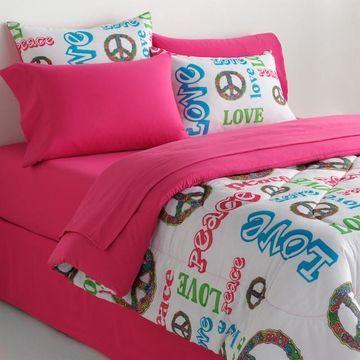 Veratex Peace & Love Reversible Comforter Set