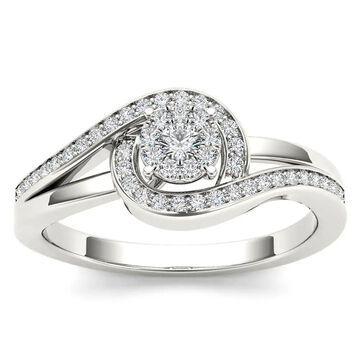 De Couer IGI Certified 10k White Gold 1/5ct TDW Diamond Promise Fashion Ring