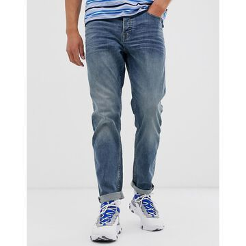 Only & Sons tapered fit jeans in mid blue